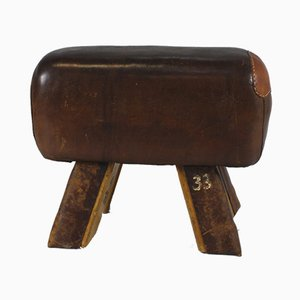 Leather Gym Stool or Bench, 1930s