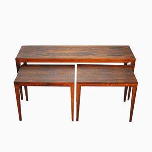 Tavolini ad incastro vintage in palissandro di Severin Hansen per Haslev Møbelsnedkeri