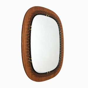 Swedish Metal & Teak Mirror by Josef Frank for Svenskt Tenn, 1960s