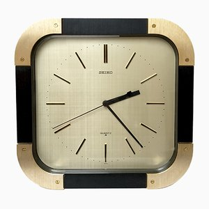 Vintage Black and Gold Clock from Seiko