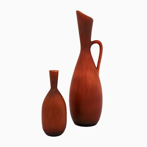 Brown Vases by Carl-Harry Stålhane for Rörstrand, 1950s, Set of 2