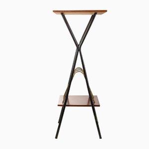 Revistero de metal y madera con mesa, años 60