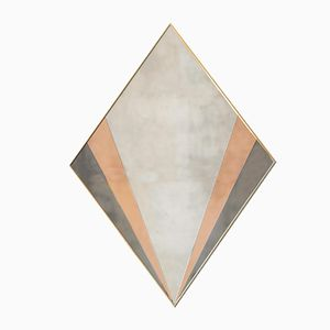 Large Brass Diamond-Shaped Sommet Mirror in Grey and Salmon by Agence Desjeux Delaye for Versant Edition