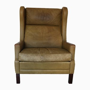Vintage Leather Wingback Chair by Georg Thams, 1960s