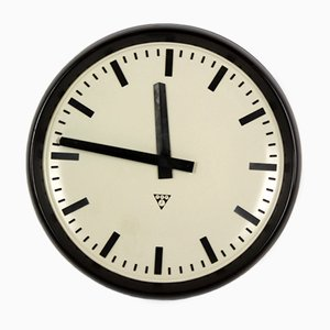 Large Bakelite Railway Clock by Pragotron, 1950s