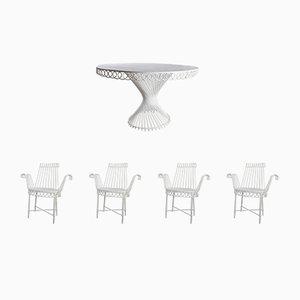 Tavolo da pranzo Antheor e sedie Cap d'Ail di Mathieu Matégot, anni '50