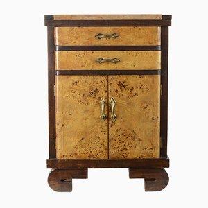 Comodino Art Déco in legno a bicolore e con piano in marmo