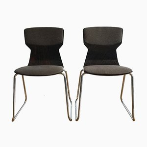 Molded Plywood and Chrome Metal Chairs from Casala, 1980s, Set of 2