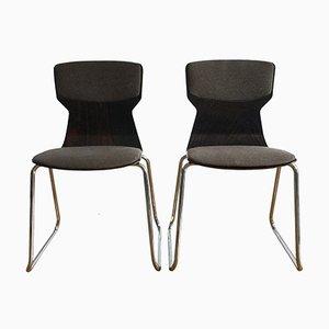 Stühle aus geformtem Schichtholz und verchromtem Metall von Casala, 1980er, 2er Set