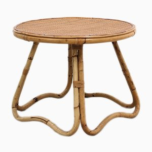 Mid-Century Italian Round Rattan Coffee Table from Pierantonio Bonacina, 1950s