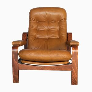Swedish Brown Leather Loungechair, 1970s