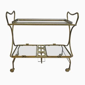 Mid-Century Brass Bar Cart, 1950s