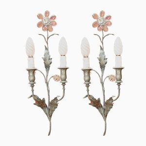 Bronze and Crystal Art Nouveau Sconces, 1920s, Set of 2