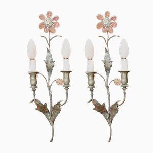 Jugendstil Wandlampen aus Bronze und Kristallglas, 1920er, 2er Set