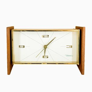 Brass and Wood Table Clock from Diehl, 1960s