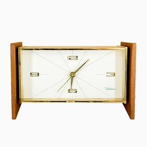 Orologio da tavolo in ottone e legno di Diehl, anni '60