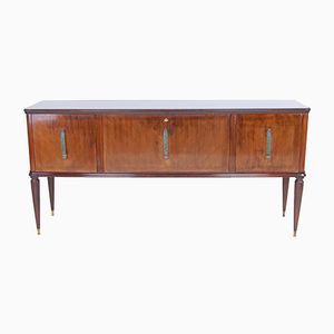 Sideboard with Glass Top & Brass Feet, 1950s