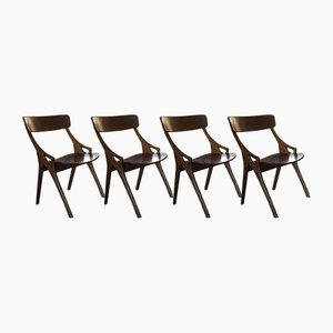 Dining Chairs by Arne Hovmand Olsen for Mogens Kold, 1950s, Set of 4