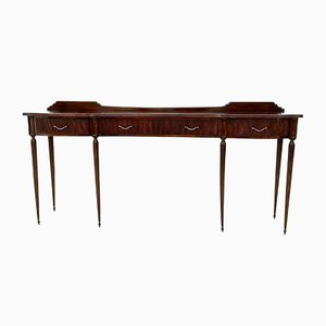 Mid-Century Mahogany Console Table with Brass Handles, 1950s