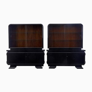 Art Deco Black Lacquered Display Cabinets, Set of 2