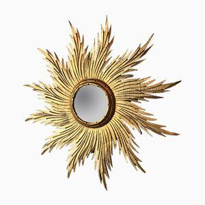 Miroir Sunburst Convex Vintage en Bois Doré, France