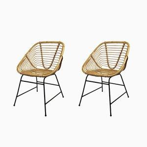 Vintage Stühle aus Rattan, 2er Set