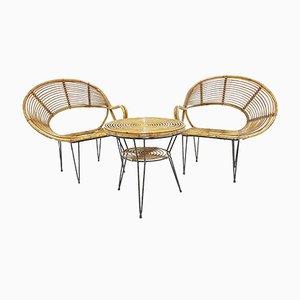 Ensemble Table & 2 Chaises Vintage en Bambou par Janine Abraham & Dirk Jan Rol, 1970s