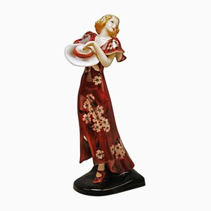 Art Deco Dancer Figurine by Stefan Dakon for Goldscheider Wien, 1930s