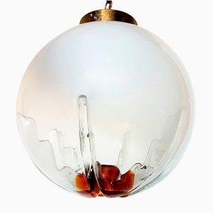 Lampada a sospensione grande vintage in vetro di Murano di Mazzega