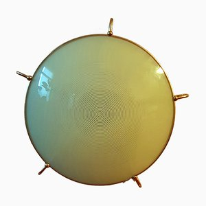 Mid-Century Brass and Glass Wall Lamp from Erco, 1960s