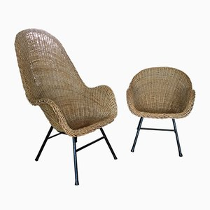 Mid-Century Rattan Chairs from Gebroeders Jonkers Noordwolde, Set of 2
