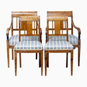 Sedie da pranzo antiche in betulla, set di 4