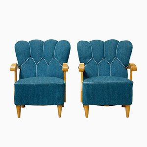 Scandinavian Shell Back Armchairs, 1950s, Set of 2