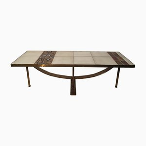 French Ceramic and Metal Table, 1970s