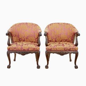 Antike Sessel mit geschnitztem Gestell aus Nussholz, 2er Set