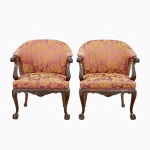 Antique Carved Walnut Club Chairs, Set of 2