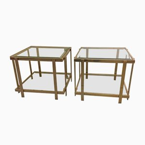 Brass Side Tables, 1980s, Set of 2