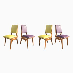 French Dining Chairs, 1950s, Set of 4