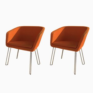 Orange Lounge Chairs, 1970s, Set of 2