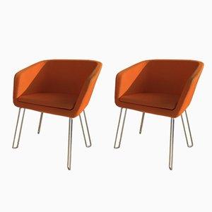 Orangefarbener Sessel, 1970er, 2er Set