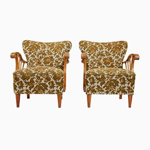 Scandinavian Elm Armchairs, 1950s, Set of 2