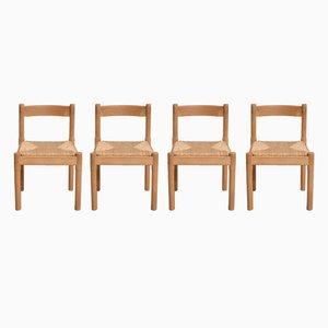 Vintage Carimate Esszimmerstühle aus Schilfrohr von Vico Magistretti für Cassina, 4er Set