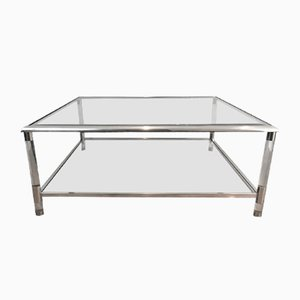 Square Chrome and Plexiglass Coffee Table, 1970s