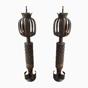 Steel Fire Place Andirons, 1940s, Set of 2