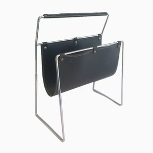 Black Leather and Chrome Magazine Rack, 1970s