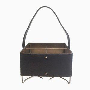 Portabottiglie in ottone, metallo e pelle, anni '50