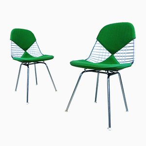 DKX Chromed Bikini Wire Chairs by Charles & Ray Eames for Herman Miller, 1960s, Set of 2