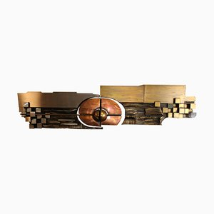 Large Hammered Copper, Brass and Steel Wall Piece by Carlos Marinas, 1975