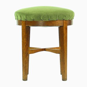 Czechoslovakian Round Stool in Green Fabric & Oak, 1950s
