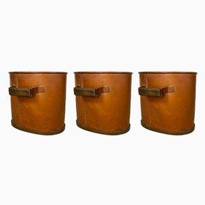 Leñeros antiguos grandes de cobre, década de 1850. Juego de 3